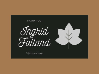 Thank You Ingrid Folland