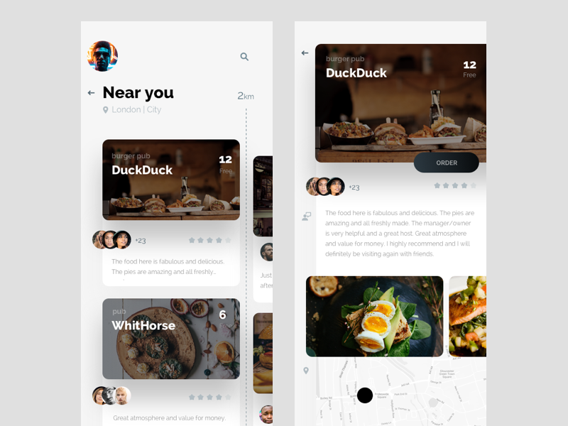 Nosh app - free places at restaurants to book now ukraine ux ui food iphone ios mobile feed restaurant menu