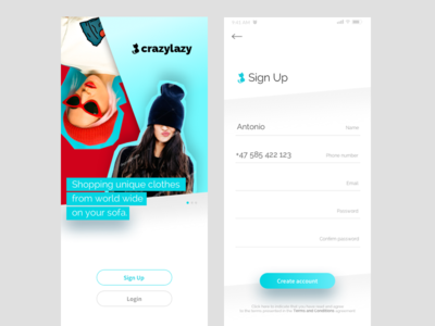 crazylazy - shopping app ux ui store shop iphone ios mobile interface simple clean fashion ecommerce