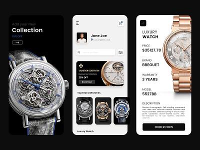 Online Luxury Watch Store uiux illustration online watch store app mobile app development company app design mobileappdesign uxui ui ecommerce app