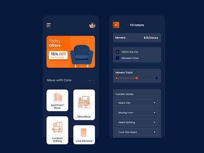 Movers and Packers App UIUX design transport moversandpackers app on demand app app development app design uiux ui