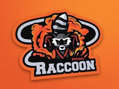 Suicidal Raccoon Mascot Logo