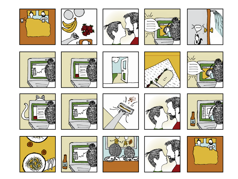 A day in my life illustrations grad school remote work telework storyboard illustration
