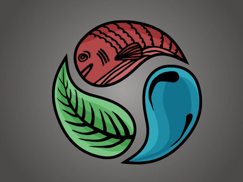 Symbiotic Cycles Logo fish plant water cycle icon logo aquaponics