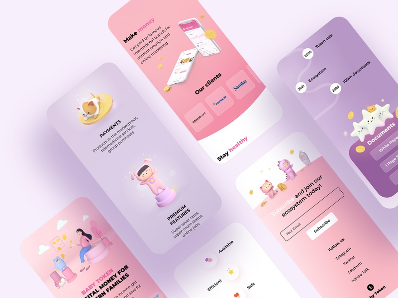 Interface | Baby token 3d mobile site design site interface ux ui design