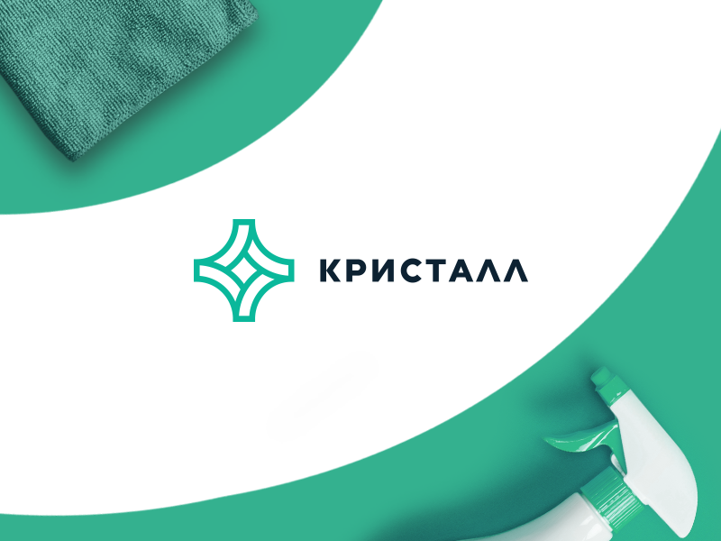 Logo | Crystal logo illustration green design crystal cleaning branding brand