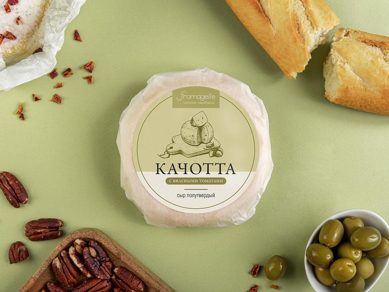 Package | Fromagelle green cheese packaging logo illustration design branding brand