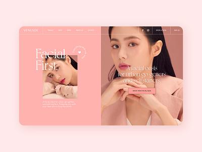 Venusde homepage facial venusde uibycal skincare design ui