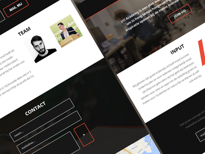 I/O Academy one page layout clean dark interactive education webdesign flat
