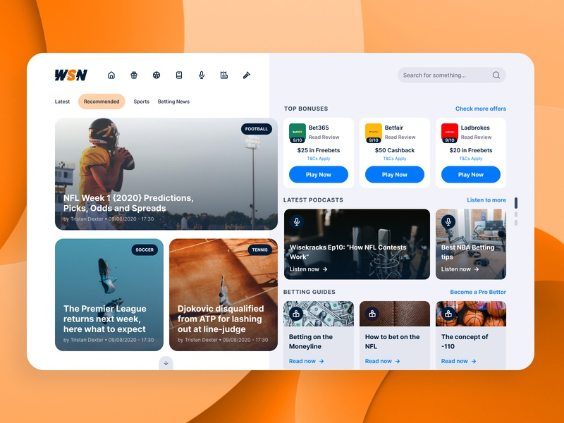 WSN Re-Concept for Desktop cards desktop app dashboard desktop app betting gaming bonus live sports reading article news sports design gambling ux ui product