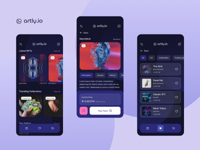 artly.io NFT Marketplace cards trading commerce favourites checkout marketplace crypto spline sketch adobe xd figma prototype ui product art nft