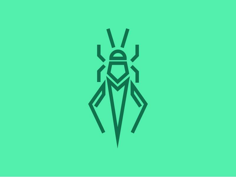 Hopper mark vector illustration lines bug cricket logo