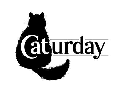Caturday silhouette bw black and white typography lettering illustration fur animal cats housecat cat caturday