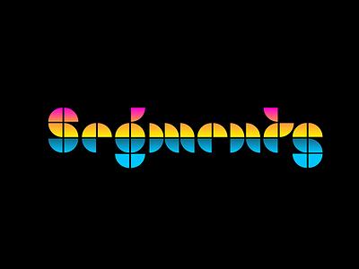 Sunset Segments geometric neon gradients sunset type design fonts type lettering