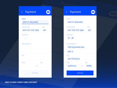 002 Credit Card Checkout dailyui 002 dailyui monotone blue typography design ui