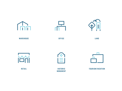 Kalil Commercial property type icons minimal iconography austin brokerage real estate