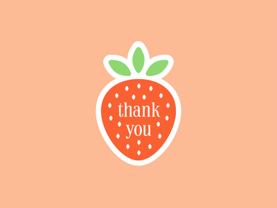 Thank You sticker cute thank you strawberry