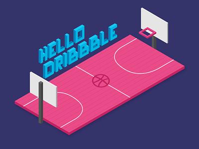 Hello Dribble isometric illustration visual design
