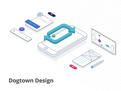 Dogtown Design layout design vector visual design isometric illustration