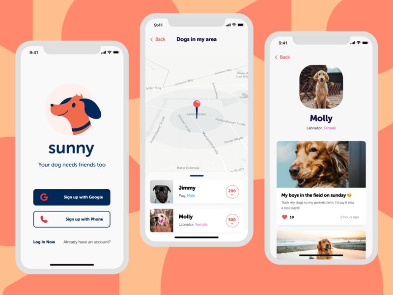 Dog Social Network emoji poster design logo log in signup profile distance like pet dog map mobile app mobile
