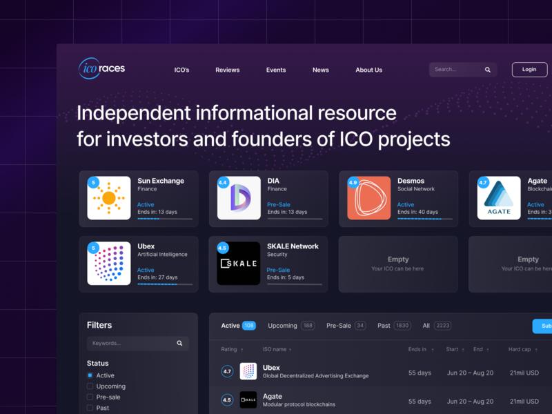 ICO Listing Homepage purple landing page website web filters resource licorice dashboard ux ui app figma