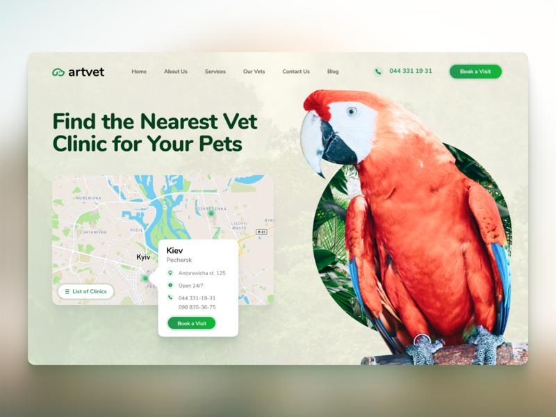 Vet Clinic Homepage web phone webdesign clinic vet homepage animal pets map ux ui