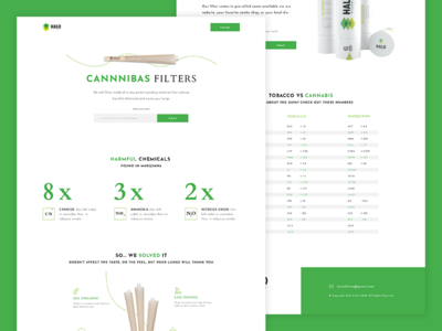 Cannabis Filter Landing Page cta email capture ecommerce chart web design web ui footer landing page