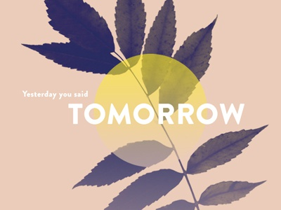Yesterday You Said Tomorrow quote inspirational type