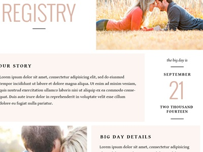 Wedding Registry Template #2 wedding registry layout typography web