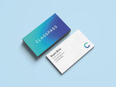 Classpass Business Cards blue green gradient print business cards