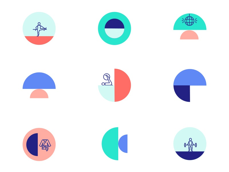 Classpass Icons pink blue teal circles icons