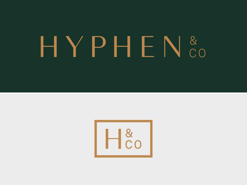 Hyphen  tan green clean simple co hco h branding logo