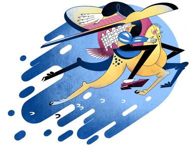 Yellow horse rush rider ipadpro procreate illustration horse animal animal art digital raster color people design