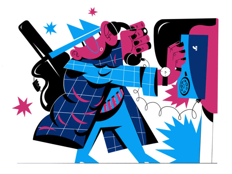 Phone call 2 signal guy watch incoming call composition coat rings hat guitar call phone hands ipadpro illustration procreate digital raster flat color people