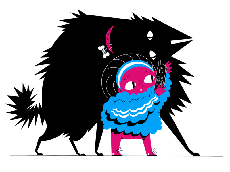 Night call beast black ipadpro collar guard stripes call phone girl procreate illustration drawing dog animal art digital raster color