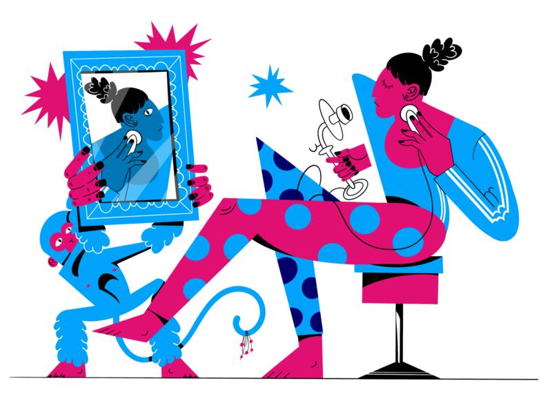 Mirror character hand drawn reflection stripes circles ipad pro illustration frame woman old telephone phone call mirror monkey animal animal art procreate digital raster people color