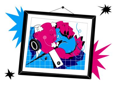 Together Again color procreate picture hands headphones people pet mouse animal art frame raster digital illustration