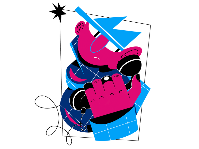 Gangster design rings character hat phone composition procreate people color raster digital illustration gangster