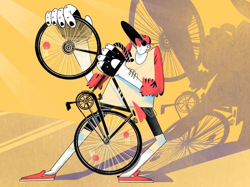 Bike guy sketch by hand guy bike shadow cycle bycicle composition ipadpro digital illustration raster procreate people color