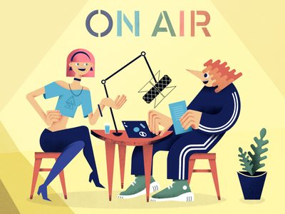 ON AIR talk show vector type characters plant sketch laptop microphone people color illustration raster digital podcast