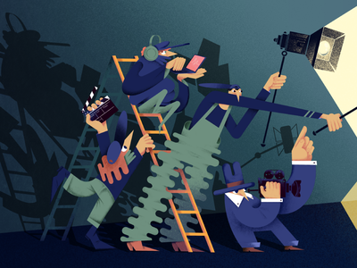 Podcast backstage work teamwork team backstage microphone stairs laptop clapperboard characterdesign flat procreate color people raster digital illustration