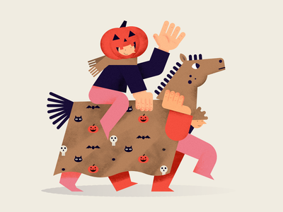 Halloween costume party halloween pattern characterdesign pumpkin horse digital design animal art flat people color vector illustration