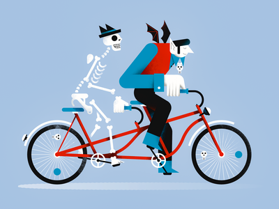 Halloween ride halloween colorful sketch vector characterdesign digital people ride bike flat illustration hat skull skeleton vampire