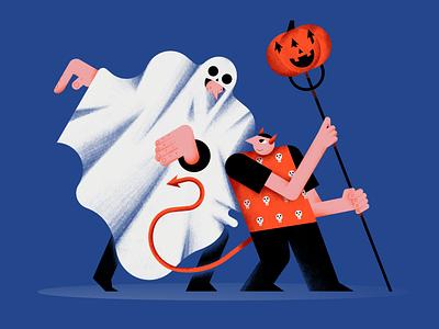 Happy Halloween 2020 skulls devil ghost vector pumpkin people pattern halloween flat design color characterdesign digital illustration