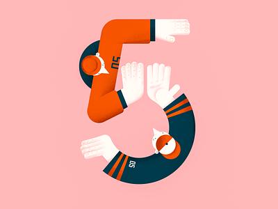 Say high five hands 5 friends highfive five number vector people illustration flat digital design color characterdesign