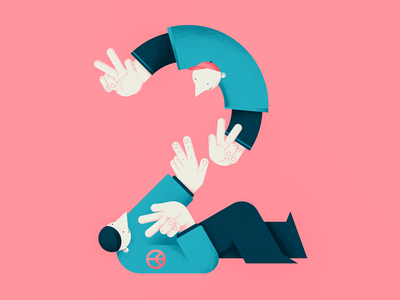 Victory and Peace vector people number illustration victory peace sign hands friends flat two digital design color characterdesign 2
