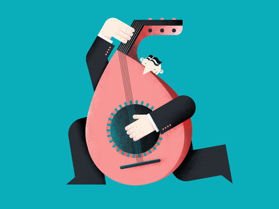 My lute strings musician lute people six number illustration hands flat digital design color characterdesign 6