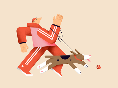 Walk or training session? pet animal ball characterdesign color design digital dog flat friends illustration vector stripes sports walk people