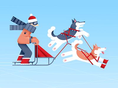 Snow dogs dog christmas sled dog husky winter boots vector sports pet people illustration friends flat digital animal design color characterdesign