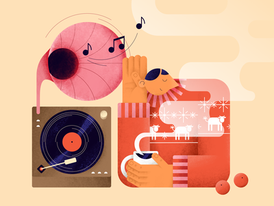 The New Year is coming! record pattern sweater new year tea music people illustration vector hands flat digital design color merry christmas characterdesign